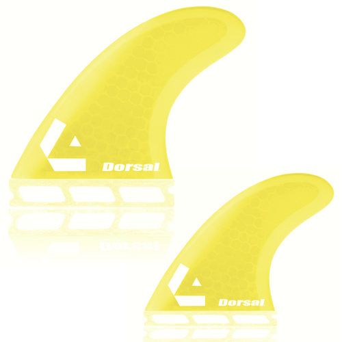 Dorsal Surfboard Fins Hexcore Quad Set (4) Honeycomb FUT Base Yellow