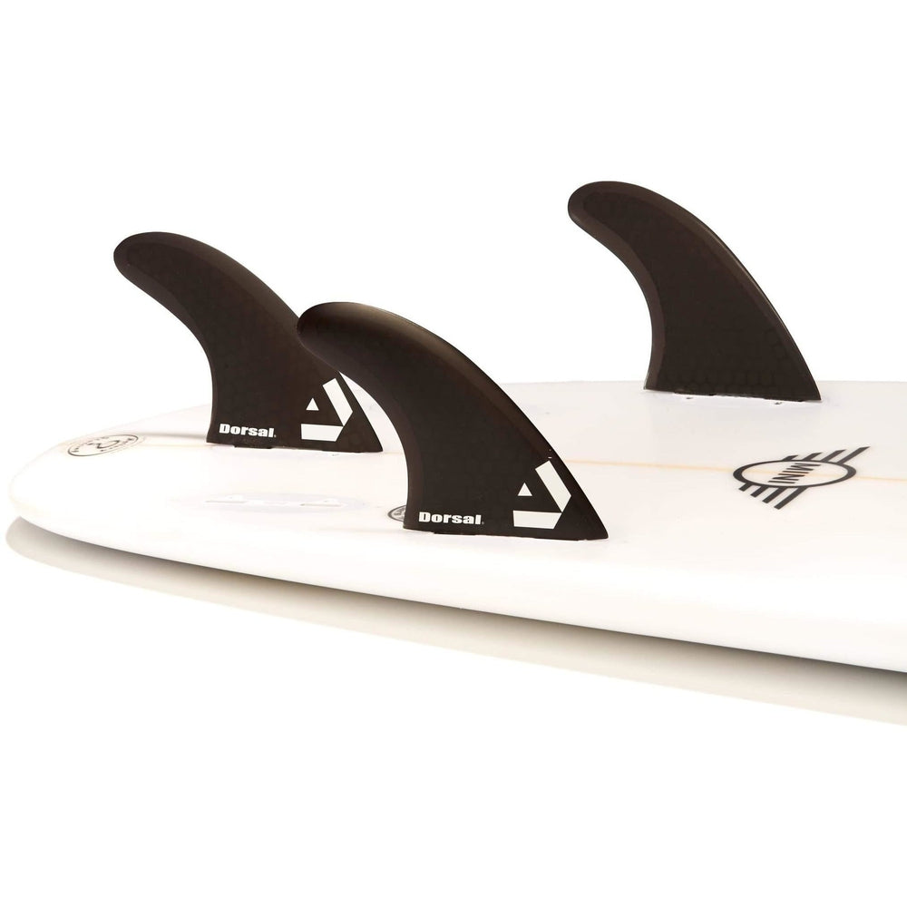 Dorsal Surfboard Fins Hexcore Thruster Set (3) Honeycomb FCS Base Black