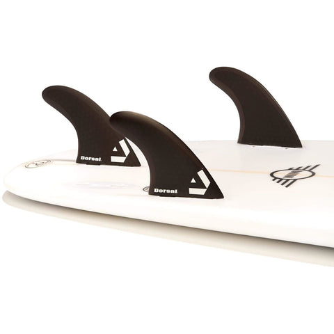 Dorsal Surfboard Fins Hexcore Quad Set (4) Honeycomb FCS Base Black