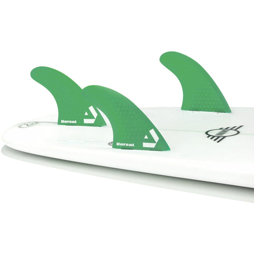 Dorsal Surfboard Fins Hexcore Thruster Set (3) Honeycomb FCS Base Green