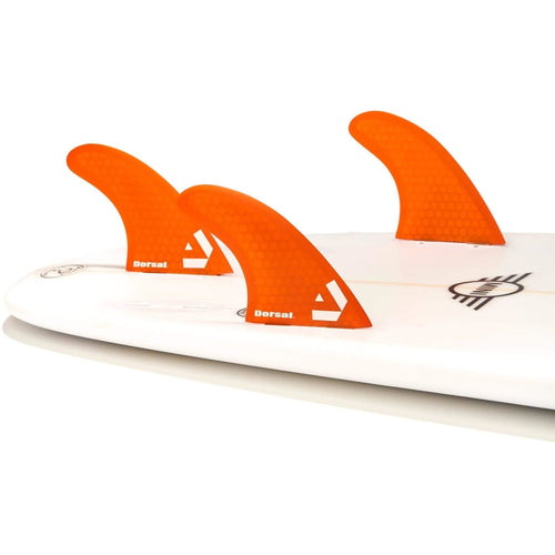 Dorsal Surfboard Fins Hexcore Thruster Set (3) Honeycomb FCS Base Orange