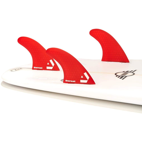 Dorsal Surfboard Fins Hexcore Thruster Set (3) Honeycomb FCS Base Red