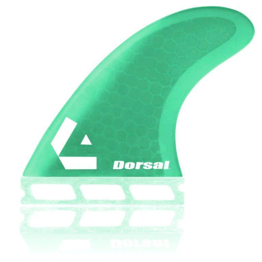 DORSAL Surfboard Fins Hexcore Thruster Set (3) Honeycomb FUT Base Green