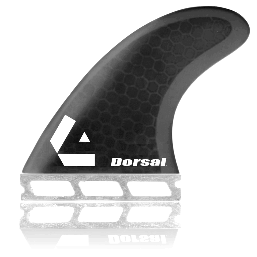 Dorsal Surfboard Fins Hexcore Thruster Set (3) Honeycomb FUT Base Black