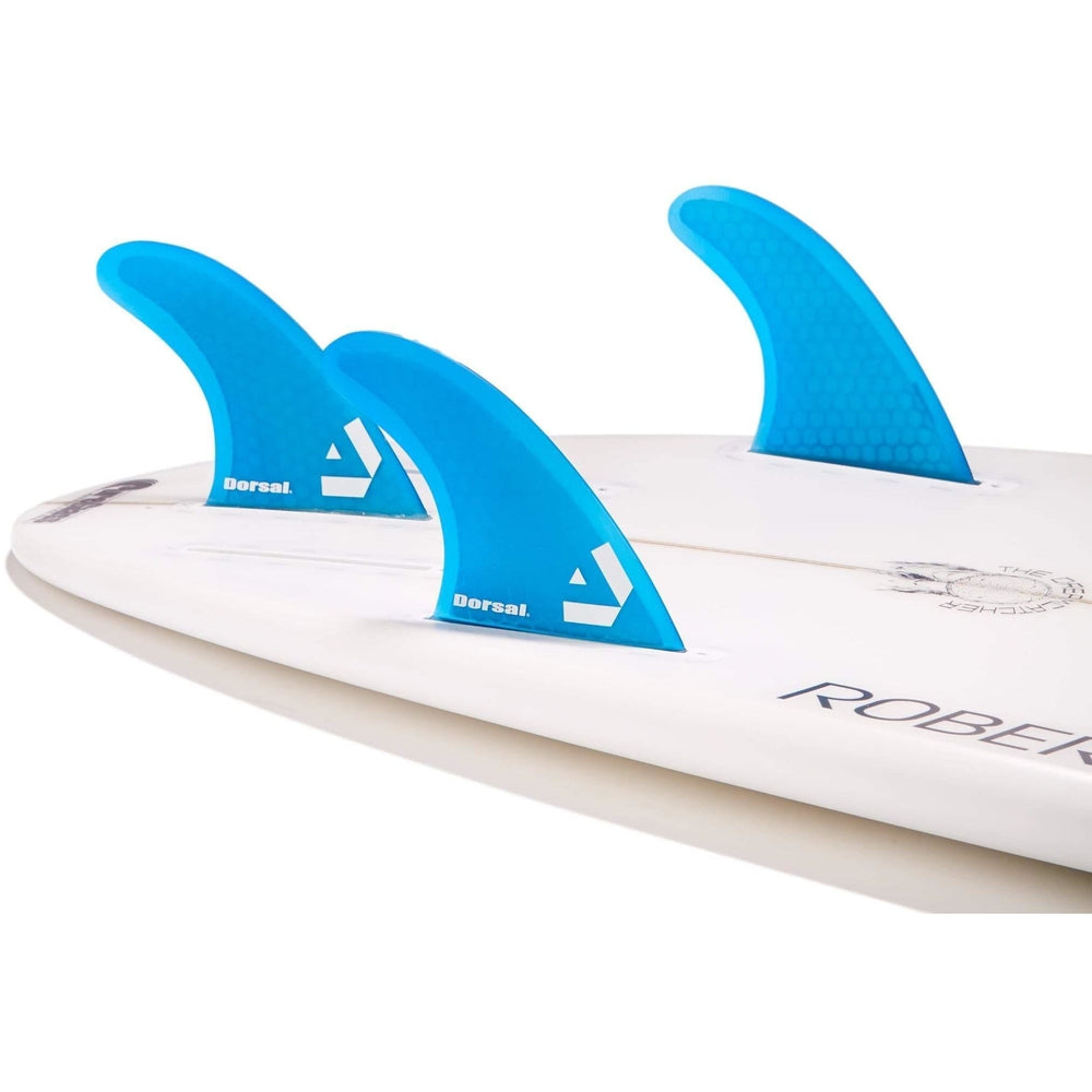 Dorsal Surfboard Fins Hexcore Thruster Set (3) Honeycomb FUT Base Blue