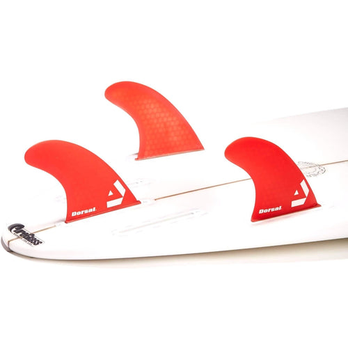 Dorsal Surfboard Fins Hexcore Thruster Set (3) Honeycomb FUT Base Red