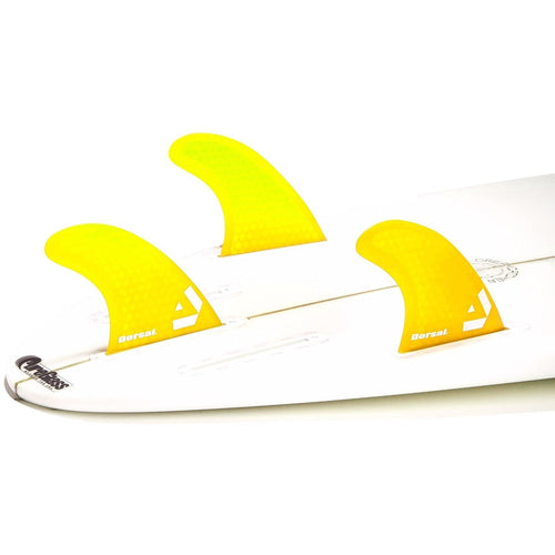 Dorsal Surfboard Fins Hexcore Thruster Set (3) Honeycomb FUT Base Yellow