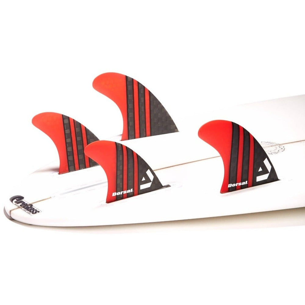 Dorsal Carbon Hexcore Quad Surfboard Fins (4) Honeycomb FUT Base Red - DORSAL?« Surf Shop - Dorsalfins.com?ÇÄ