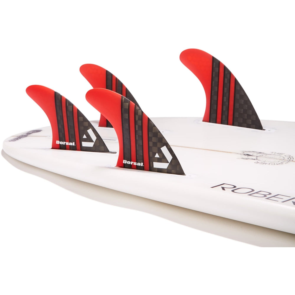 Dorsal Carbon Hexcore Quad Surfboard Fins (4) Honeycomb FUT Base Red - DORSAL® Surf Shop - Dorsalfins.com‎
