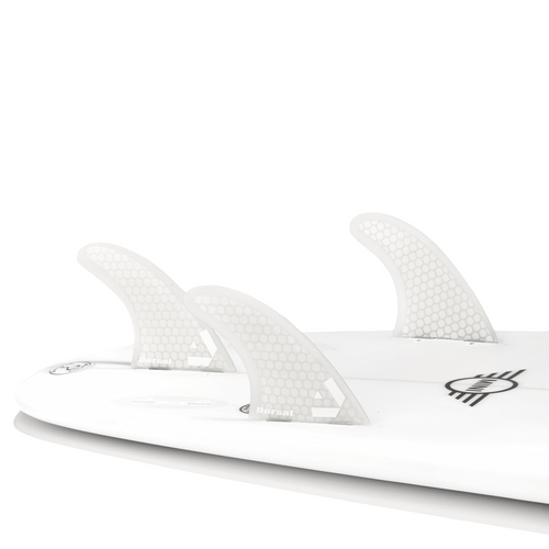Dorsal Surfboard Fins Hexcore Thruster Set (3) Honeycomb FCS Base White