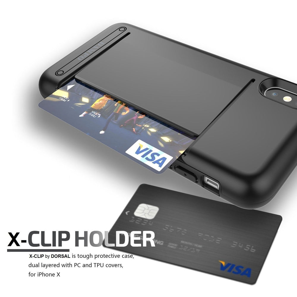 the latest 76b84 c4639 Details about Apple iPhone 10 X Case, Wallet Card Slot Drop Protection  Heavy Duty Money Clip W