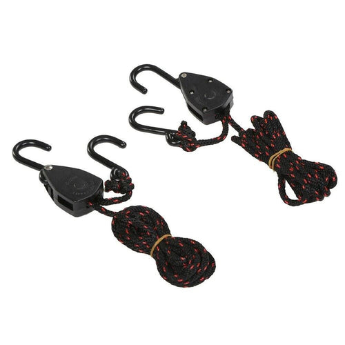 "DORSAL Ratchet Canoe and Kayak Bow and Stern Tie Downs 1/4"" Heavy Duty Adjustable Rope Hanger Grow Light (2-Pack)"