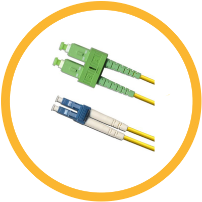 LC/UPC-SC/APC 9/125 Singlemode Duplex (Genuine Plus Corning Glass) Fiber Jumper Zipcord Cables 2.0 Jacket / BIF