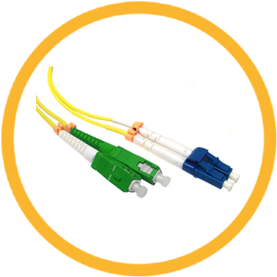 LC/UPC-SC/UPC 9/125 Singlemode Duplex (Genuine Plus Corning Glass) Fiber Jumper Zipcord Cables 2.0 Jacket / BIF