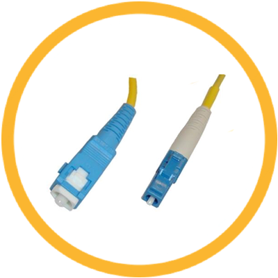 LC/UPC-SC/UPC 9/125 Singlemode Simplex (Genuine Plus Corning Glass) Fiber Jumper Zipcord Cables 2.0 Jacket / BIF
