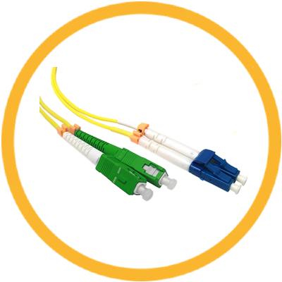 SC/UPC-LC/APC 9/125 Singlemode Duplex (Genuine Plus Corning Glass) Fiber Jumper Zipcord Cables 2.0 Jacket / BIF