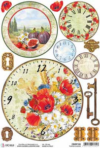 Rice paper-Tuscan Clocks A4 NEW