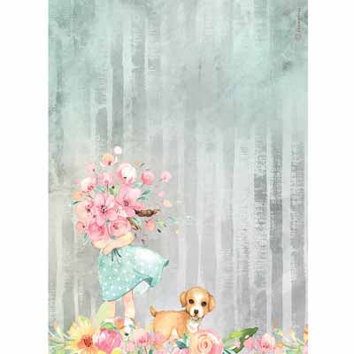 Rice paper - Colored Bouquet & Dog NEW
