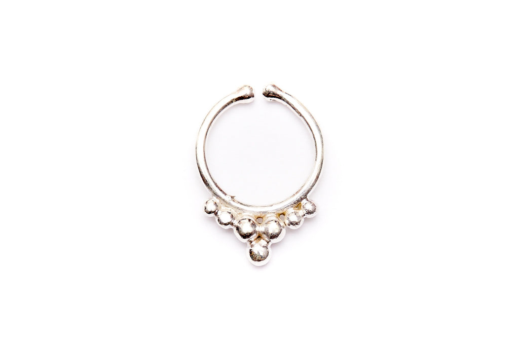 Faux Silver Tribal Nose Ring