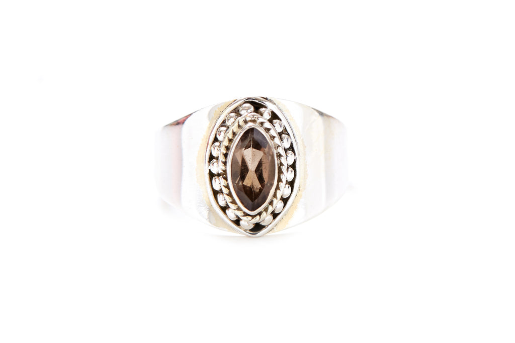 India Eye Ring - Smoky Quartz