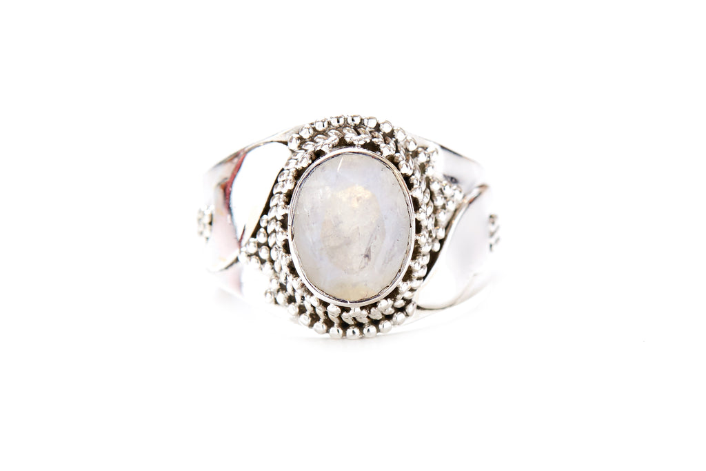 Ava Ring - Rainbow Moonstone