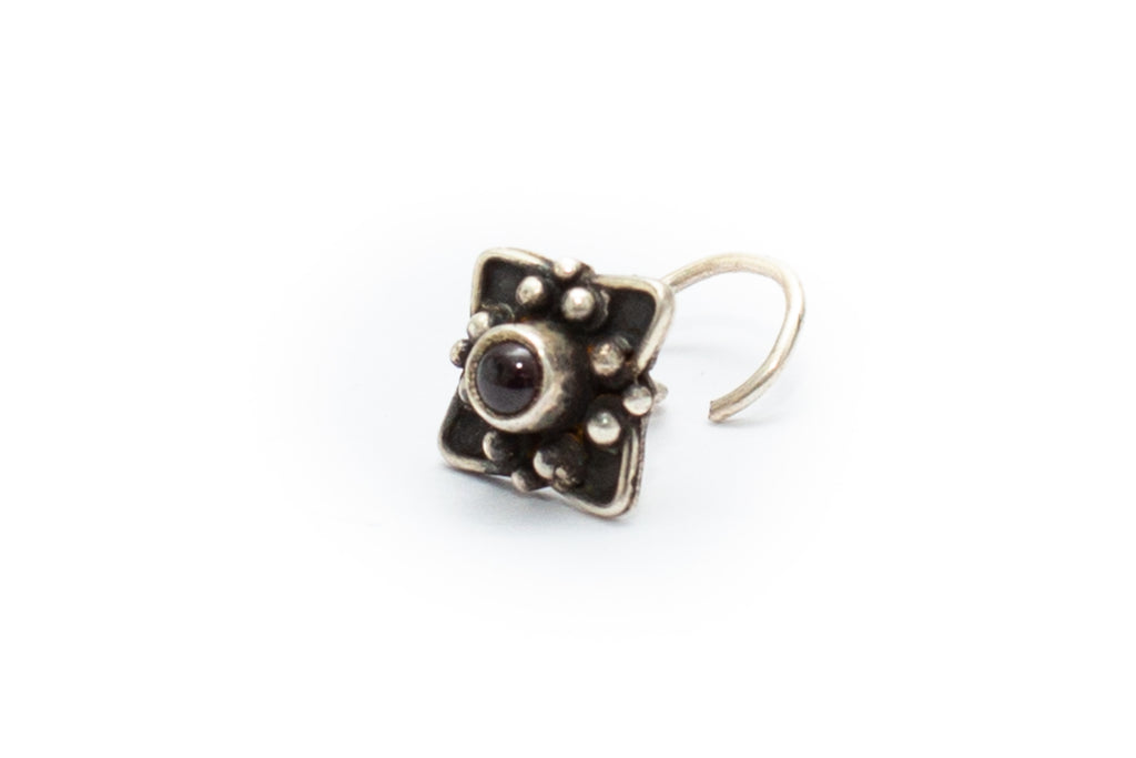 Fig Tree Nose Stud - Garnet