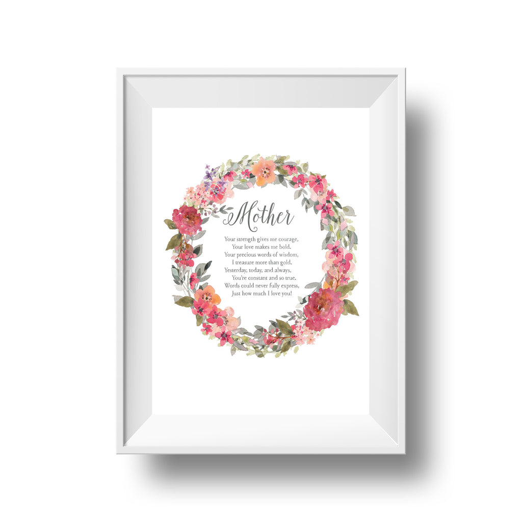 "Botanical ""Mother"" Wreath Print"