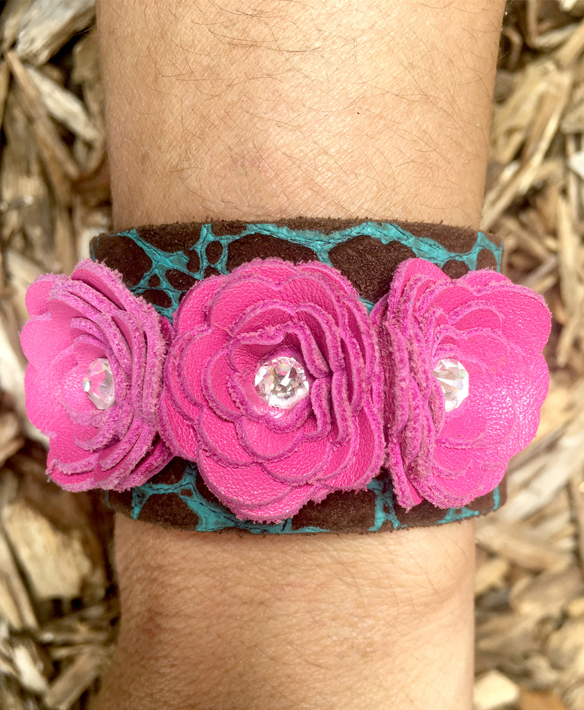 Gently Loved 3 flower cuff - LoveCrazy Designs