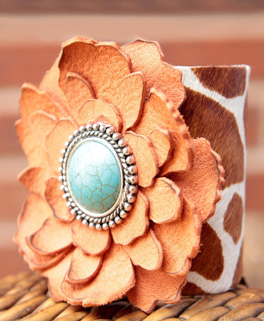 Lianne Leather Flower Cuff - LoveCrazy Designs