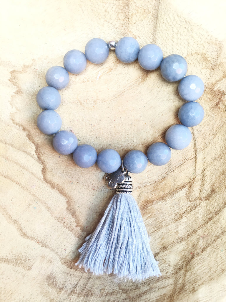 12mm beaded tassel bracelet