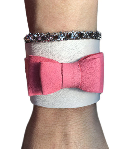 Audrey Leather Bow Cuff - LoveCrazy Designs