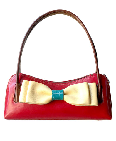One of a kind leather bow purse - LoveCrazy Designs