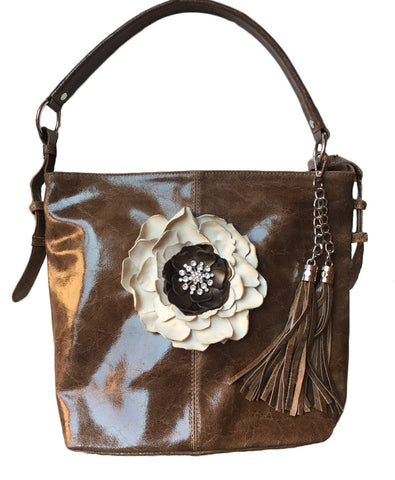 One of a kind Leather Flower Purse - LoveCrazy Designs