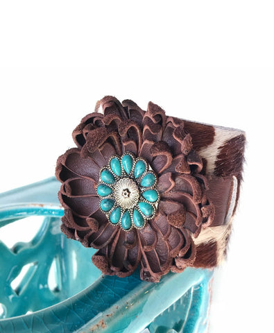 Sophia Leather Flower Bracelet - LoveCrazy Designs