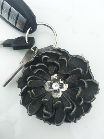 Leather Flower Keychain