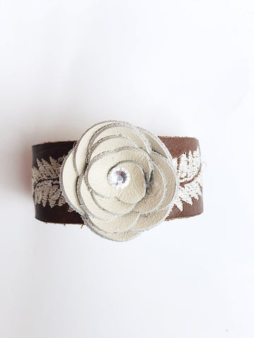 Leather flower cuff - LoveCrazy Designs