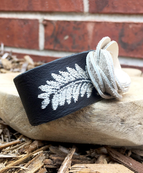 Embroidered leather flower cuff - LoveCrazy Designs