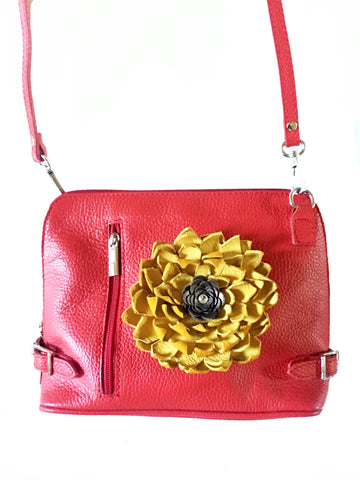 One of a kind Leather Flower Purse