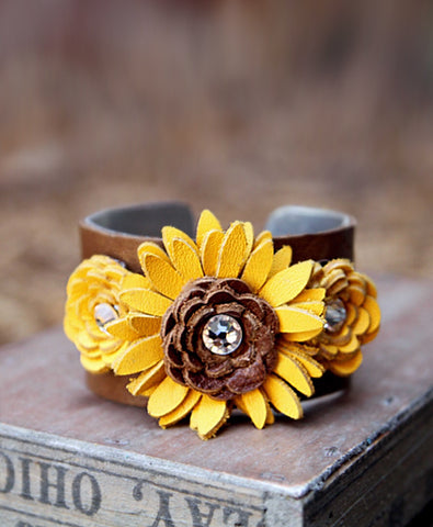 Sunshine Leather Flower Cuff - LoveCrazy Designs