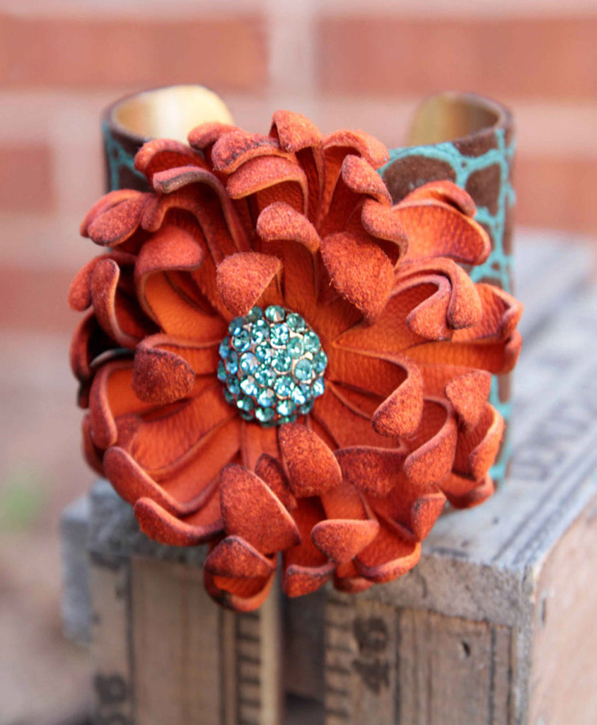 Sophia Leather Flower Cuff - LoveCrazy Designs