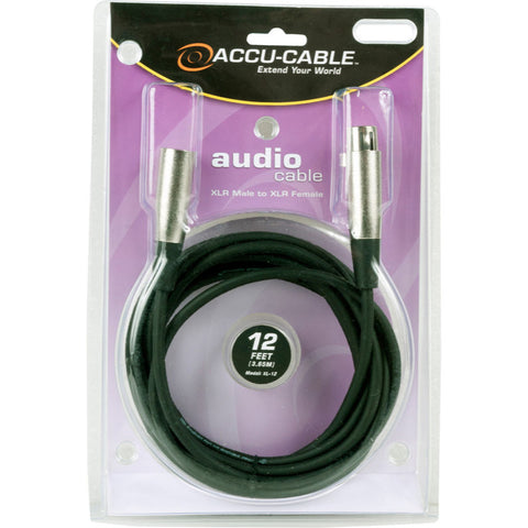 Accu-Cable XL-12 12 Ft XLR Male to XLR Female