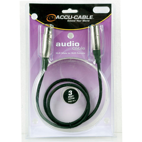 Accu-Cable XL-3 3 Ft XLR Male to XLR Female