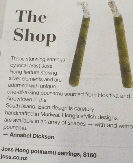 Hono pounamu and stirling silver earrings featured in Canvas Magazine, NZ Herald