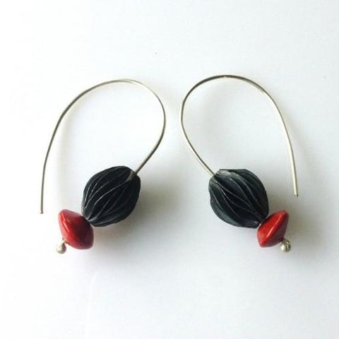 Turangawaewae silver pod and seed hook earrings - exhibition