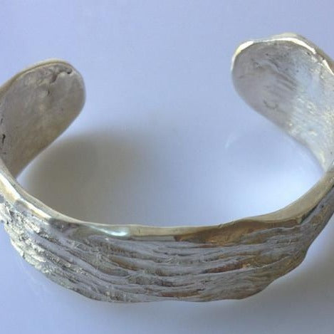 Threads of Time solid silver cuff