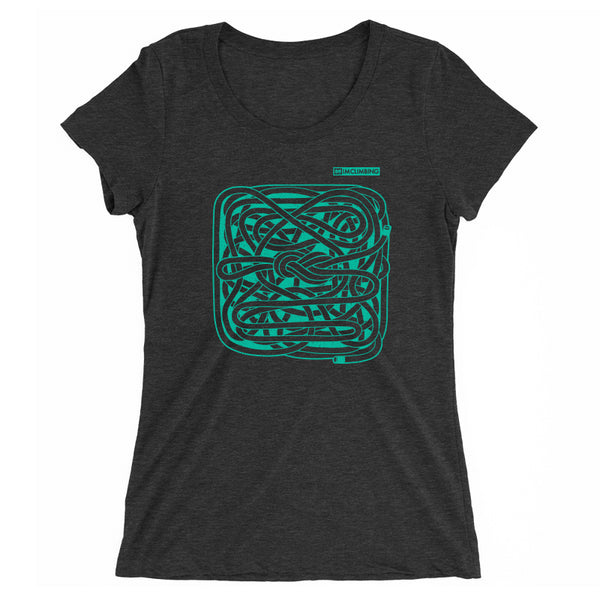 IMClimbing Figure 8 Knot Design on Charcoal T-Shirt - Women