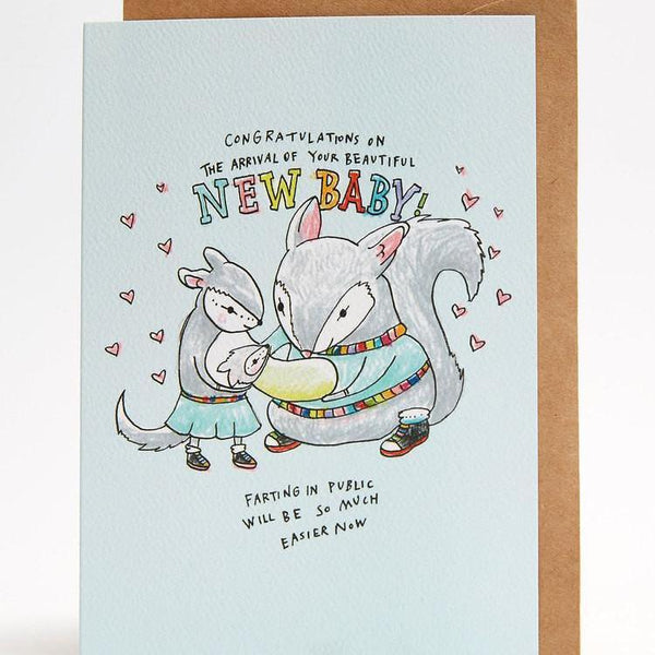 New baby farting greeting card