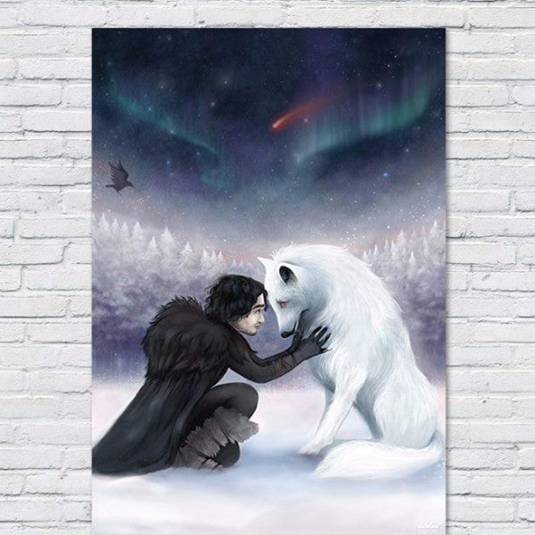Game of thrones movie Jon snow & wolf poster - Six Things - 1
