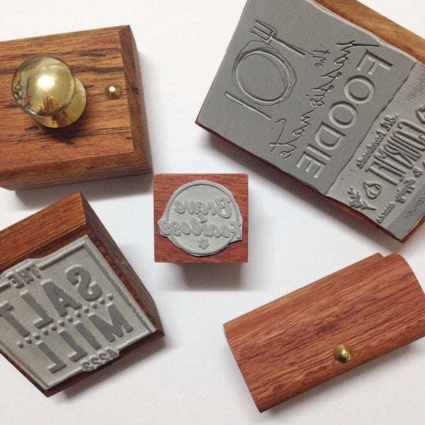 Custom made vintage style wooden stamp - Six Things - 1