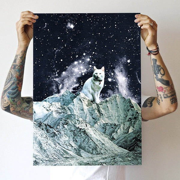 Galaxy moon kitty cat poster print